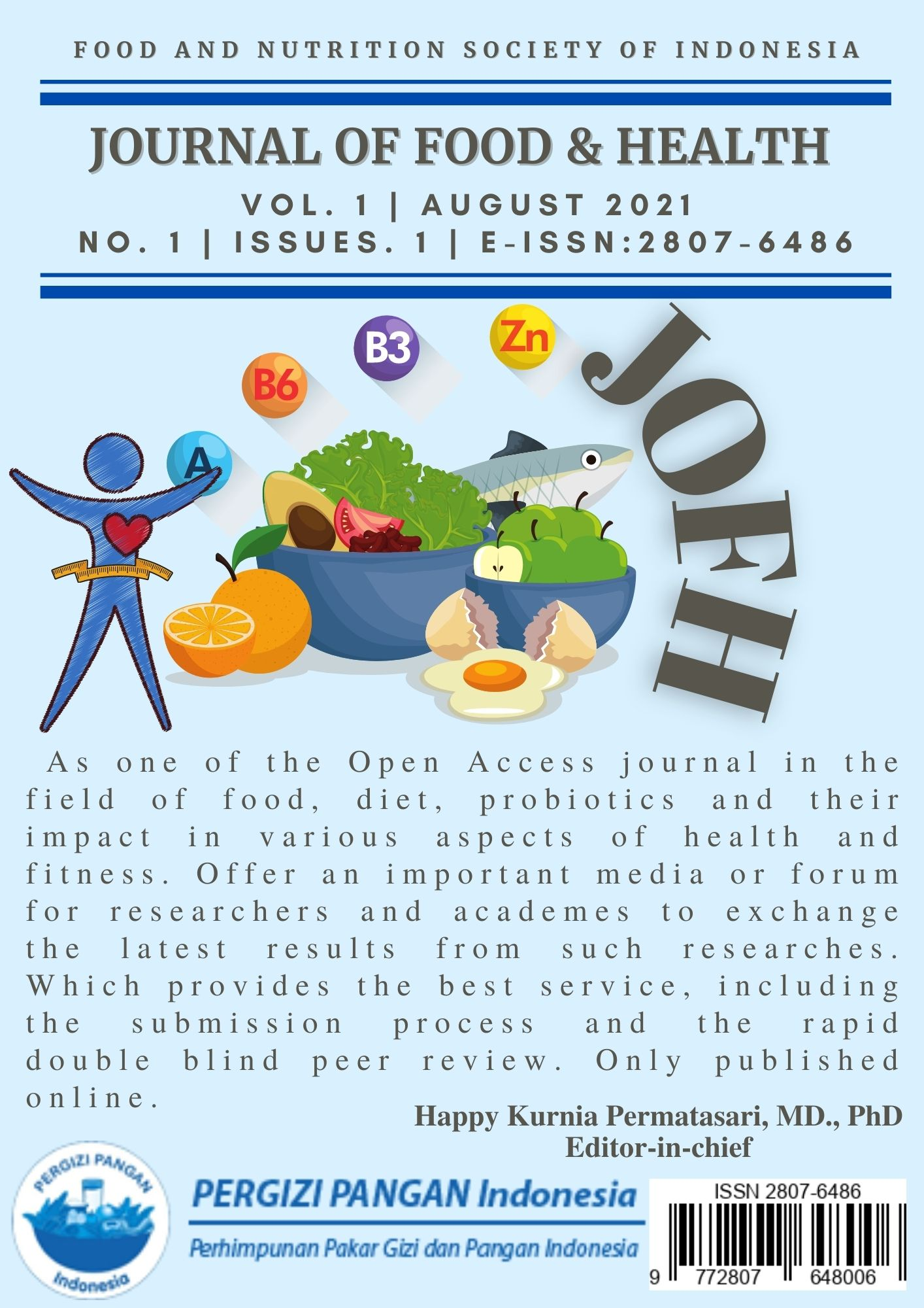 Cover of Issue 1 Volume 1 Journal of Food and Health